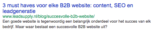 b2b website google resultaat