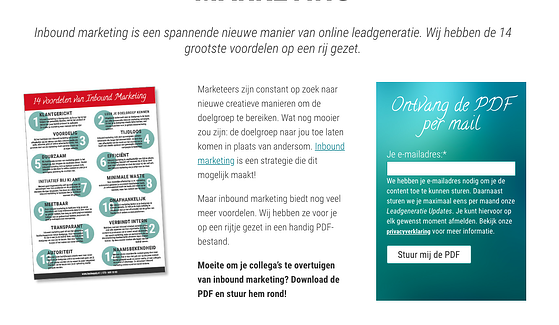 Inbound marketing landingspagina