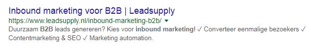 Voorbeeld Google SERP